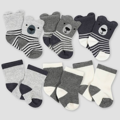 Gerber Baby Boys' 6pk Bear Jersey Wiggle Proof Socks - Gray 0-6M