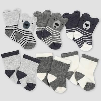 Gerber Baby Boys' 6pk Bear Jersey Wiggle Proof Socks - Gray 0-6M