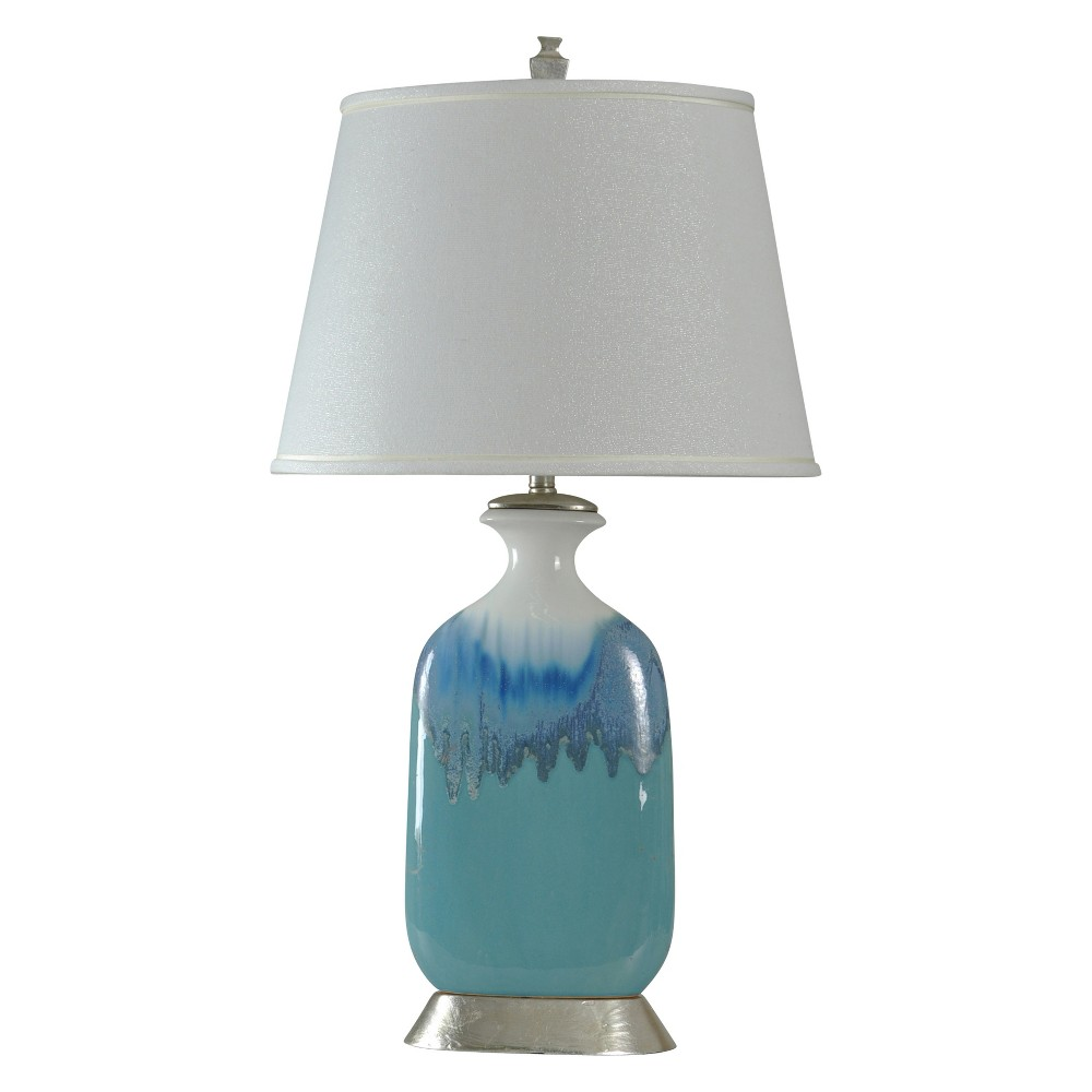 Beach Grove Blue Glaze Ceramic Table Lamp with White Hardback Fabric Shade (Lamp Only) - StyleCraft
