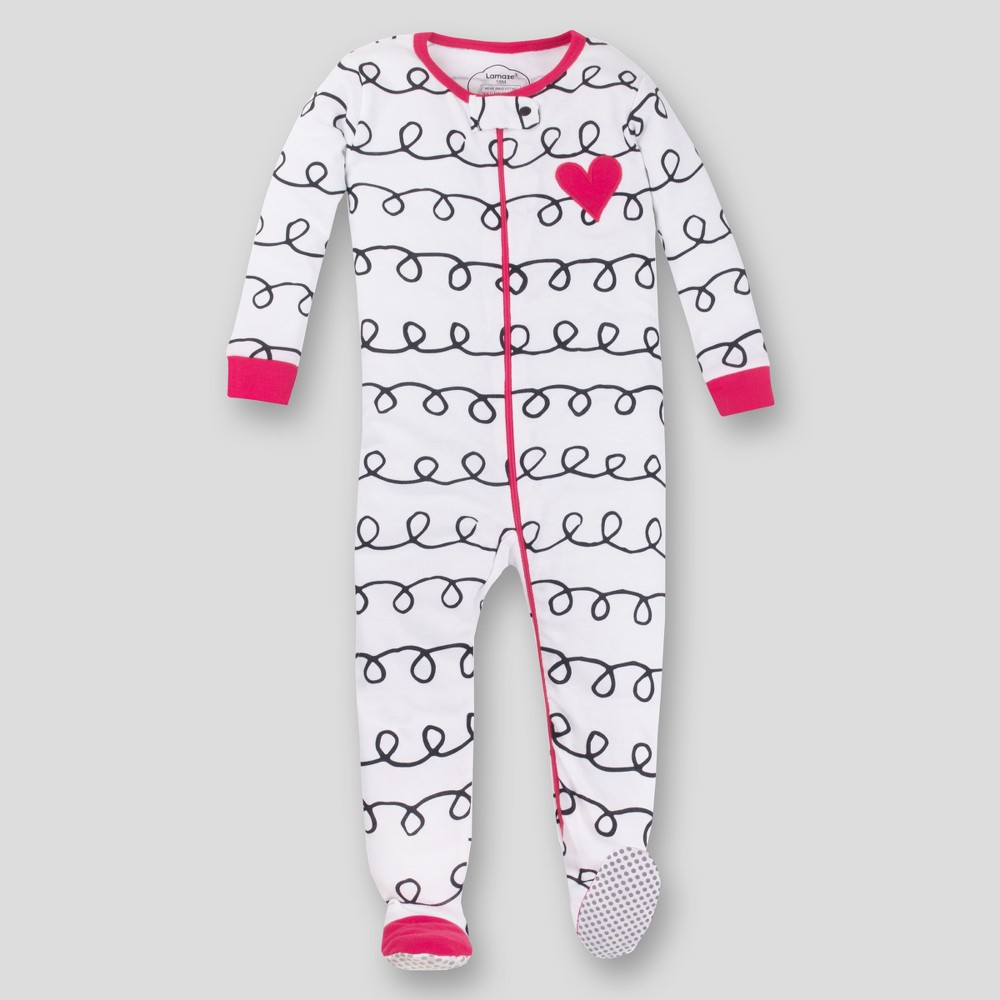 Lamaze Baby Girls' Organic Cotton Long Sleeve Footed Stretchy One Piece Pajama - Pink/White 12M
