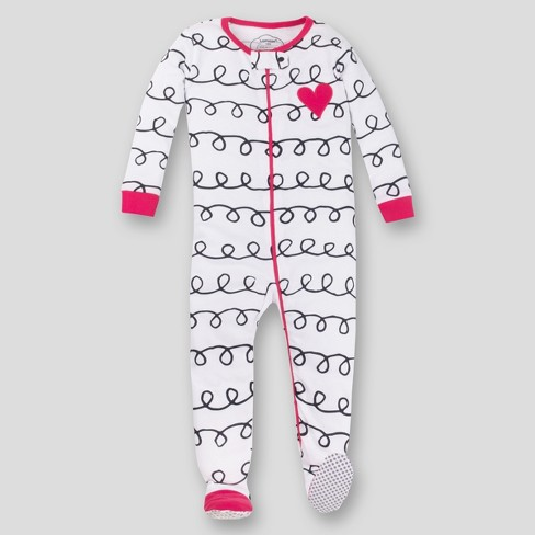 Lamaze Toddler Girls' Organic Cotton Long Sleeve Footed Stretchy One Piece Pajama - Pink/White - image 1 of 3