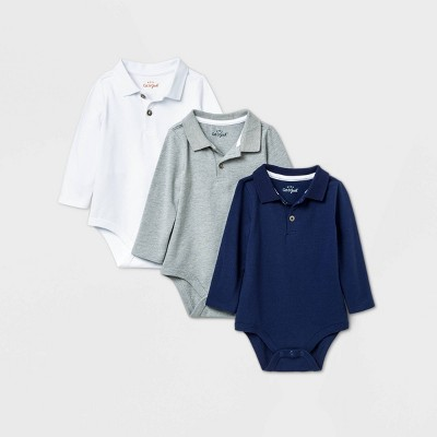 Baby Boys' 3pk Long Sleeve Polo Bodysuit - Cat & Jack™ White/Navy/Gray 6-9M