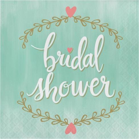"48ct ""Bridal Shower"" Napkins Mint Green - image 1 of 3"