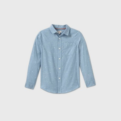 Boys' Poplin Printed Long Sleeve Button-Down Shirt - Cat & Jack™