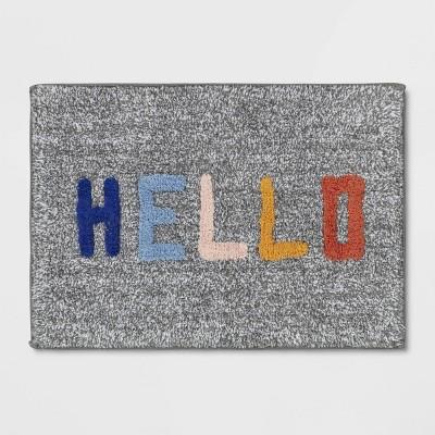Hello Bath Rug Gray - Room Essentials™