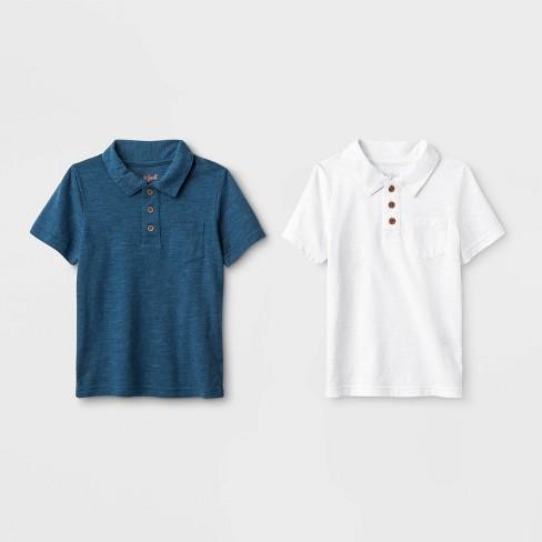 Toddler Boys' 2pk Short Sleeve Polo Shirt - Cat & Jack™ White/Blue - image 1 of 1