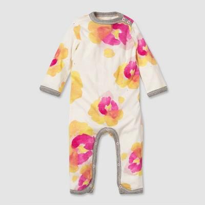 Burt's Bees Baby® Baby Girls' Organic Cotton Pansies Ruffle Jumpsuit - Pink 3-6M