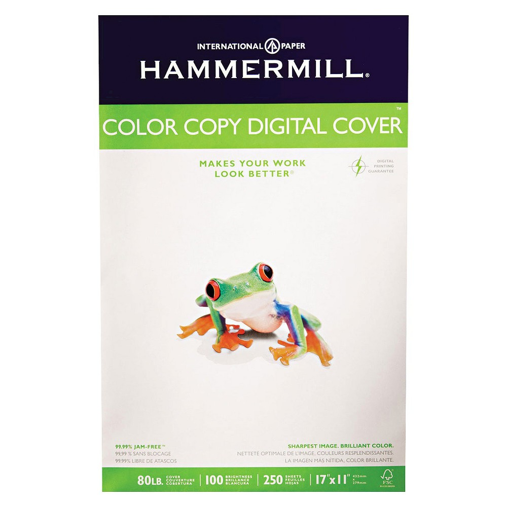 Hammermill Color Copy Digital Cover Stock, 80 lbs - White (250 Sheets Per Pack)
