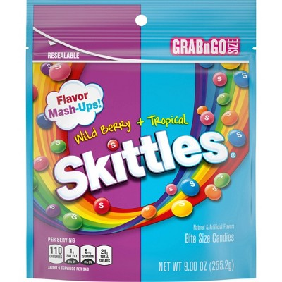 Skittles Flavor Mash-Ups Wild Berry and Tropical Bite Size Candies - 9oz