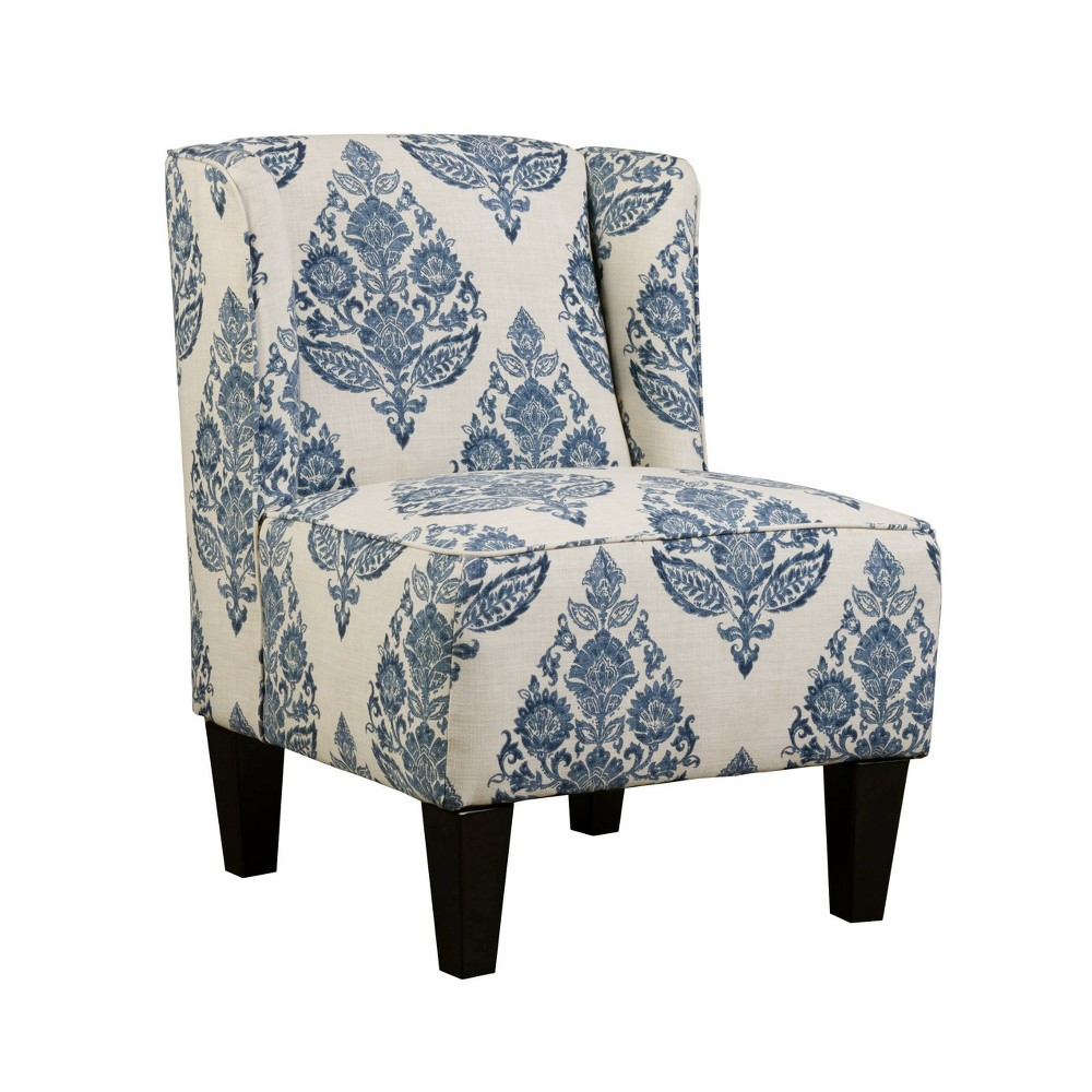 Image of Charlie Winged Slipper Chair Antique Floral Pattern Blue/Cream - Chapter 3 Inc.