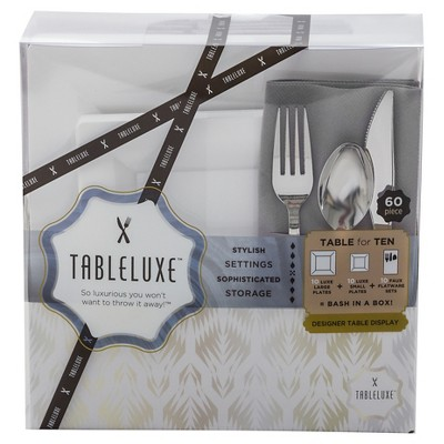 Tableluxe Table for 10 with Gray Pocket Napkins, 60ct.
