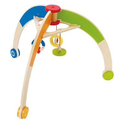 Hape Kid's My First Gym Wooden Play Time Floor Activity Center with Hanging Bar and Rattles Rings Toys for Baby