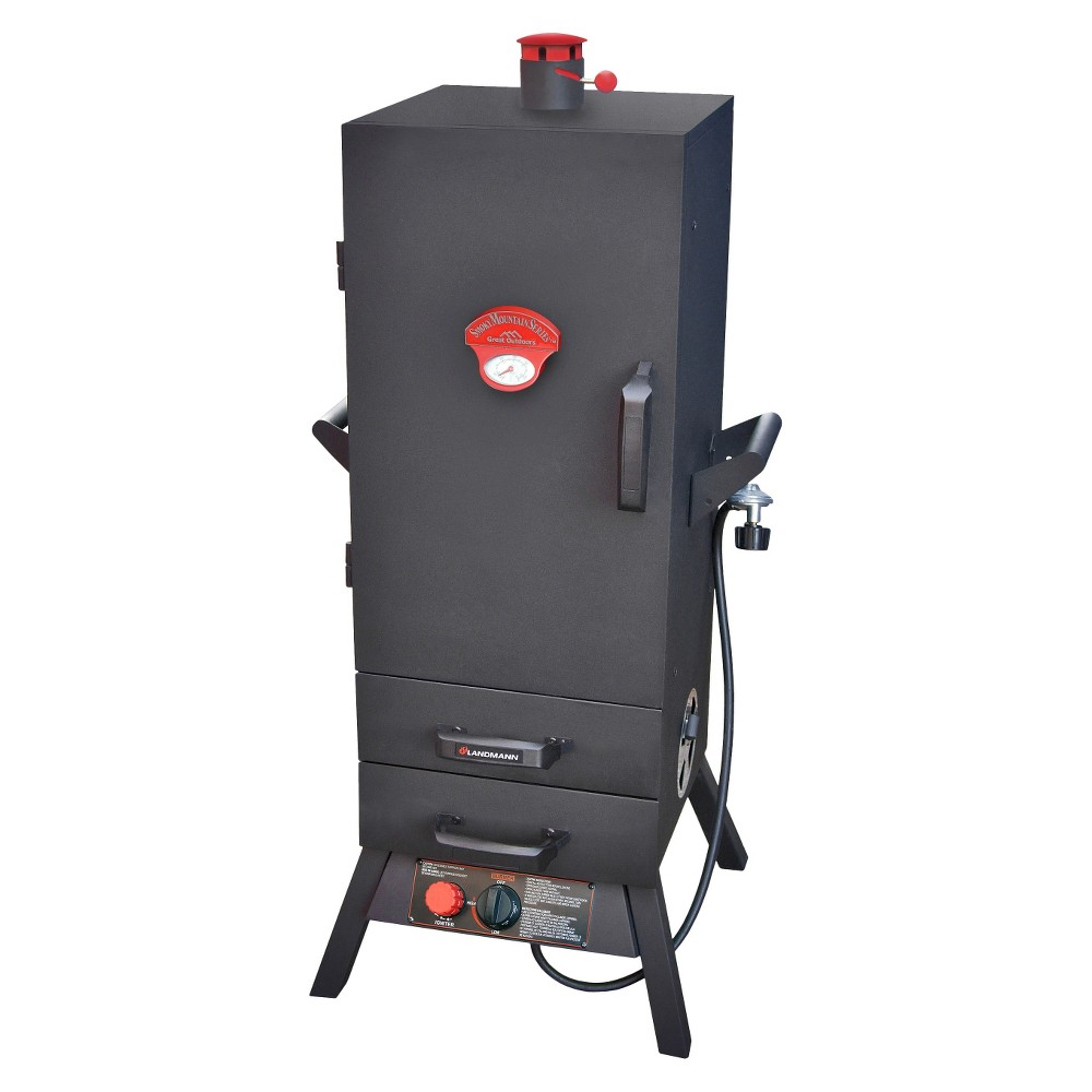 Landmann 38 Smoky Mountain Series Vertical Gas Smoker with Two Drawers, Black