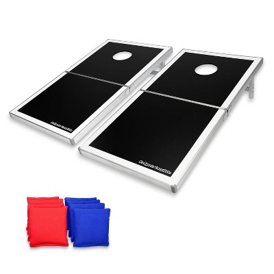 GoSports Regulation Size High Strength Aluminum Cornhole PRO Set with 2 4 Foot x 2 Foot Boards, 8 Bean Bags, Carrying Case, and Game Rules, Black