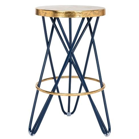 Groovy Counter And Bar Stools Navy Gold Safavieh Creativecarmelina Interior Chair Design Creativecarmelinacom