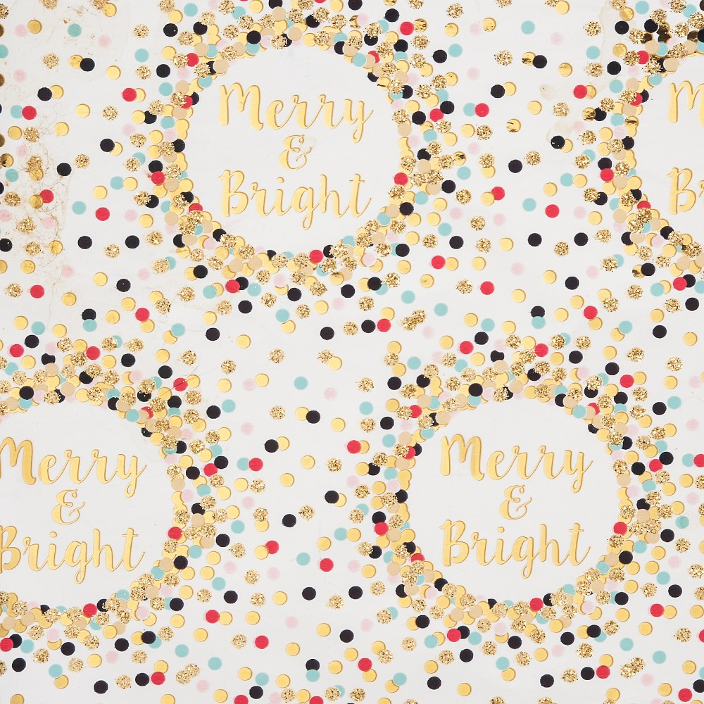 Merry and Bright Christmas Gift Wrap White/ Gold - Wondershop