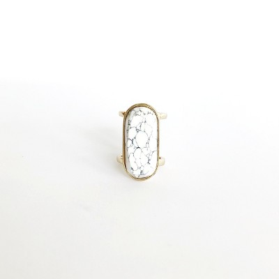 Sanctuary Project Semi Precious White Howlite Oval Statment Cocktail Ring Gold