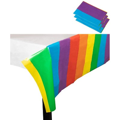 """Juvale 3-Pack Rainbow Disposable Table Cover Plastic Tablecloth 54""""x108"""" Party Supplies, 4.5x9 Feet"""