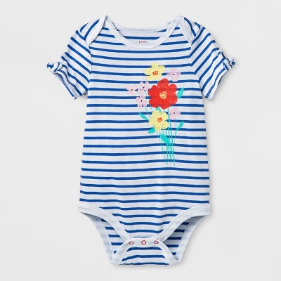 Baby Girls' Flower Bodysuit - Cat & Jack™ White/Blue Stripe 3-6M
