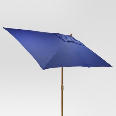 9.68' x 9.68' Rectangle Umbrella - Cobalt - Medium Wood Finish - Threshold™