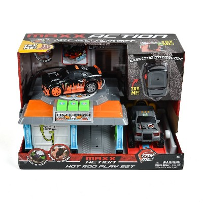 Maxx Action Lights & Sounds Hot Rod Garage with Two Mini Sports Vehicles and Working Intercom