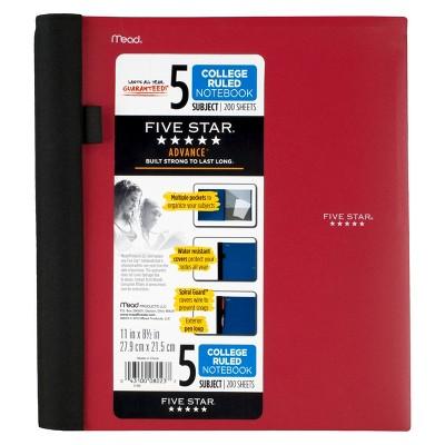 FiveStar Spiral Notebook, College Ruled, 5 Subject, 200pgs