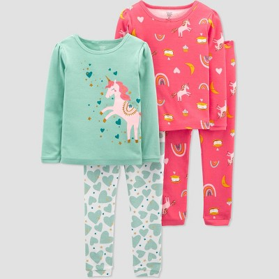 Baby Girls' 4pc Unicorn Pajama Set - Just One You® made by carter's Pink 9M