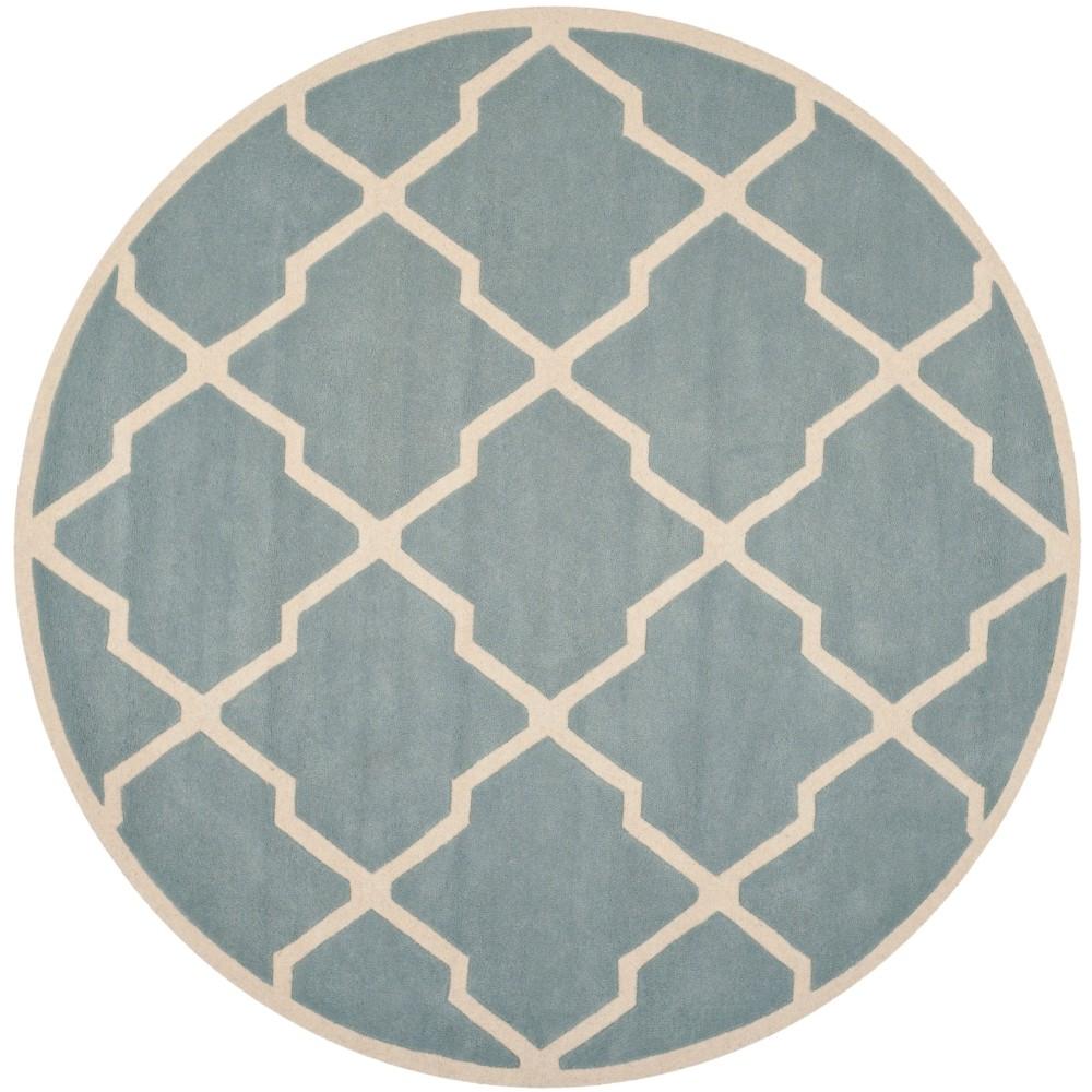 7' Quatrefoil Design Tufted Round Area Rug Blue/Ivory - Safavieh