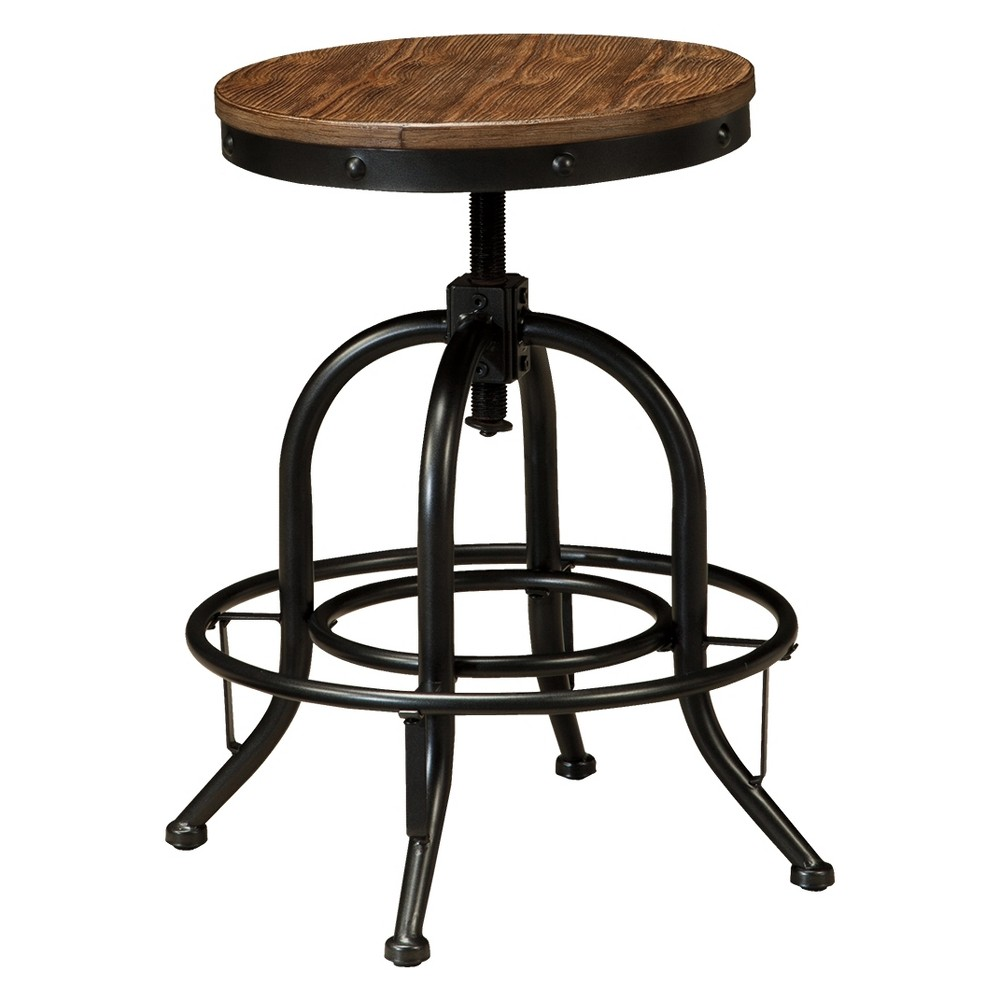 Pinnadel Swivel Adjustable Barstool (Set of 2) Brown - Signature Design by Ashley