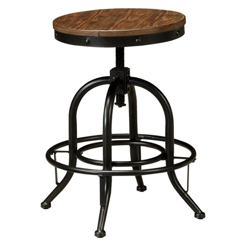Groovy Pinnadel Swivel Adjustable Barstool Set Of 2 Brown Signature Design By Ashley Pdpeps Interior Chair Design Pdpepsorg