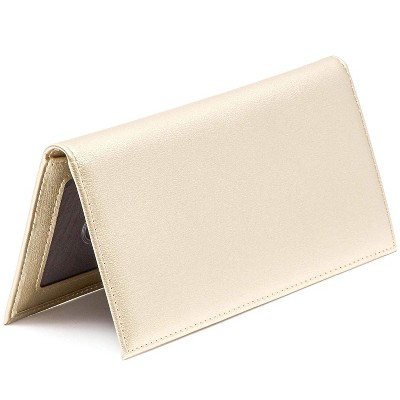 Juvale RFID Blocking Checkbook Cover Wallet Card Holder for Personal Checkbook Men Women, Gold Shiny Finish