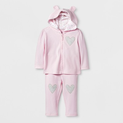 Baby Girls' Hoodie & Pant Set - Cloud Island™ Pink Newborn