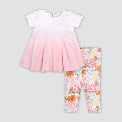 Burt's Bees Baby® Baby Girls' Organic Cotton Dip Dye Tunic & Capri Floral Leggings Set - 0-3M