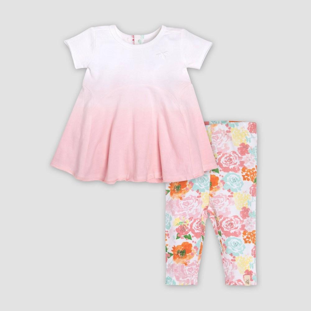 Burt's Bees Baby Baby Girls' Organic Cotton Dip Dye Tunic & Capri Floral Leggings Set - 0-3M, Multicolored
