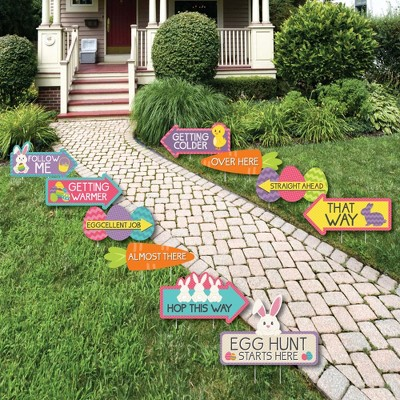 Big Dot of Happiness Easter Egg Hunt Arrow Yard Signs - Outdoor Easter Bunny Yard Decorations - 10 Piece