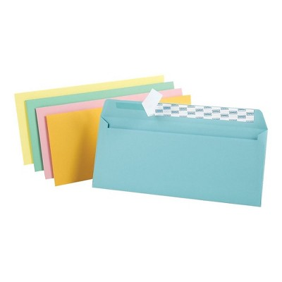 """MyOfficeInnovations EasyClose Pastel Color #10 Envelopes 4 1/8""""H x 9 1/2""""W Assorted 50/PK 122726"""