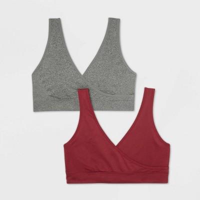 Women's Nursing Seamless Sleep Bra 2pk - Auden™ Gray/Berry Red L