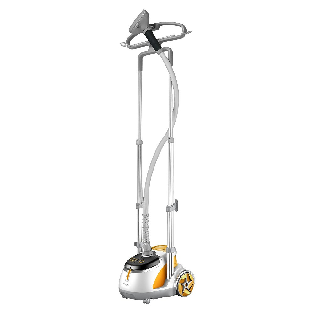 Salav Professional Series 1500w Garment Steamer - Orange The Professional Series Garment Steamer from Salav offers dual telescopic-bar supports for added stability to protect against tilting during use. This powerful 1500-watt garment steamer also offers convenient power and steam setting pedals that are ergonomically located for easy access. The built-in multifunctional hanger features a rounded design that's ideal for steaming shirts and jackets. The dual hanger is perfect for steaming pants, a fold-down hanger bar with clips for steaming smaller garments, plus side hooks to provide additional hanging space for the steamer head and hangers. This handy steamer has an easy-to-fill translucent water tank with a 61-ounce capacity that heats up in just 45 seconds. Providing over 60 minutes of continuous steam, it will quickly soften and straighten wrinkles on clothing, drapes, upholstery and more! Color: Orange.