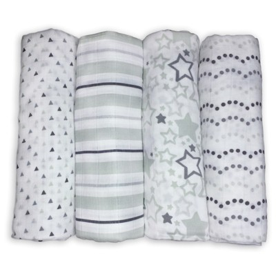 SwaddleDesigns Cotton Muslin Swaddle Blankets - Starshine Shimmer - 4pk - Sterling Gray