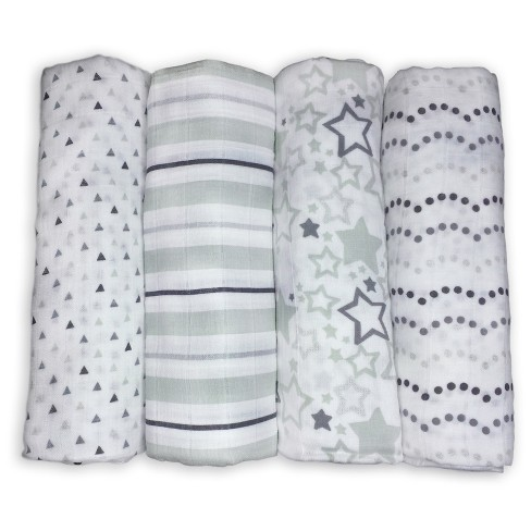 SwaddleDesigns Cotton Muslin Swaddle Blankets - Starshine Shimmer - 4pk - Sterling Gray - image 1 of 4