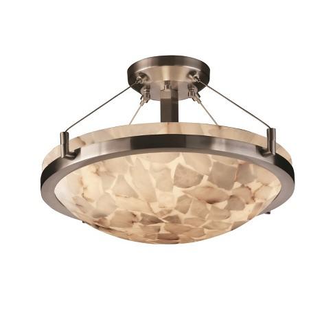 "Justice Design Group ALR-9681-35 Alabaster Rocks 21"" Round Bowl Semi Flush Mount Ceiling Fixture - image 1 of 1"