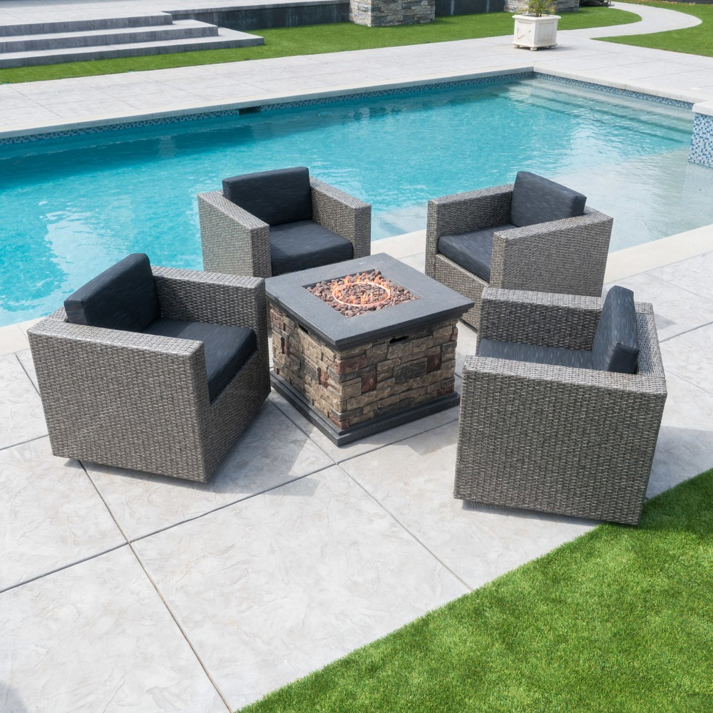 Puerta 5pc Wicker Club Chair & Stone Firepit Set - Mixed Black/Dark Gray - Christopher Knight Home