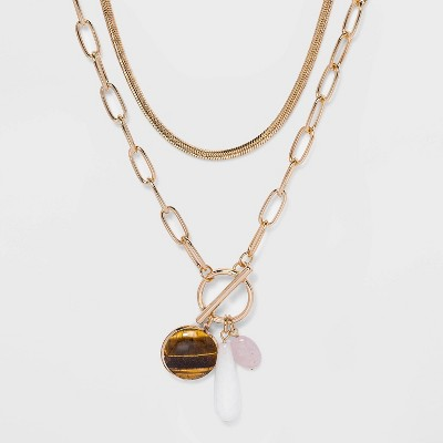 Multi Toggle Closure and Cluster Semi-Precious Stone Charmed Layered Chain Necklace - A New Day™