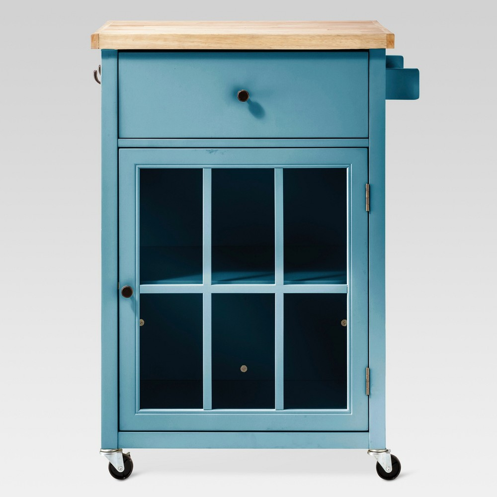 Windham Wood Top Kitchen Cart - Teal (Blue) - Threshold