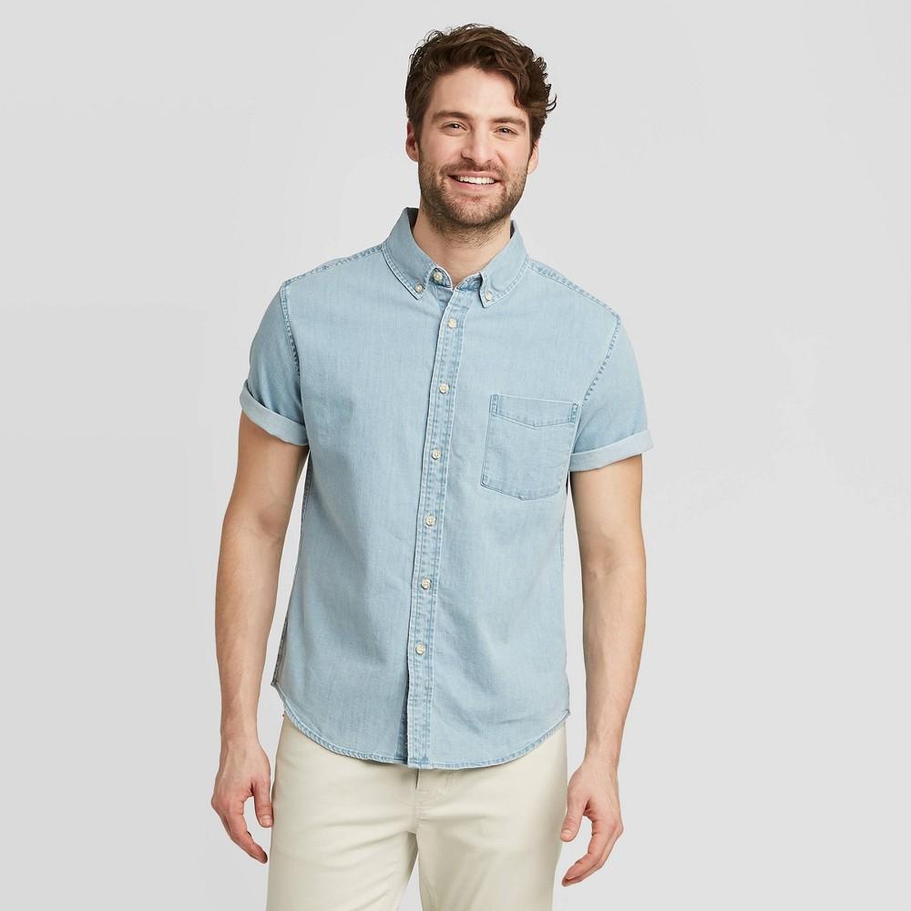 Men's Standard Fit Short Sleeve Denim Shirt - Goodfellow & Co Light Wash L, Light Blue was $19.99 now $12.0 (40.0% off)