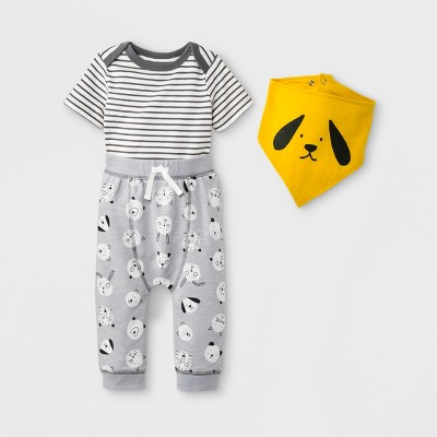 Baby Boys' 3pc Short Sleeve Bodysuit, Joggers and Bib Set - Cat & Jack™ Gray 6-9M