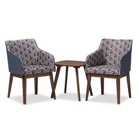 "Reece Mid - Century Modern 3 - Piece Lounge Chair and Side Table Set - Dark Blue, ""Walnut"" Brown - Baxton Studio - image 1 of 4"