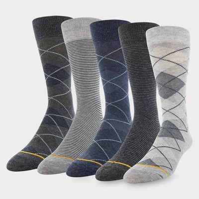 Signature Gold by GOLDTOE Men's Argyle Crew Socks 5pk - Gray 6-12.5