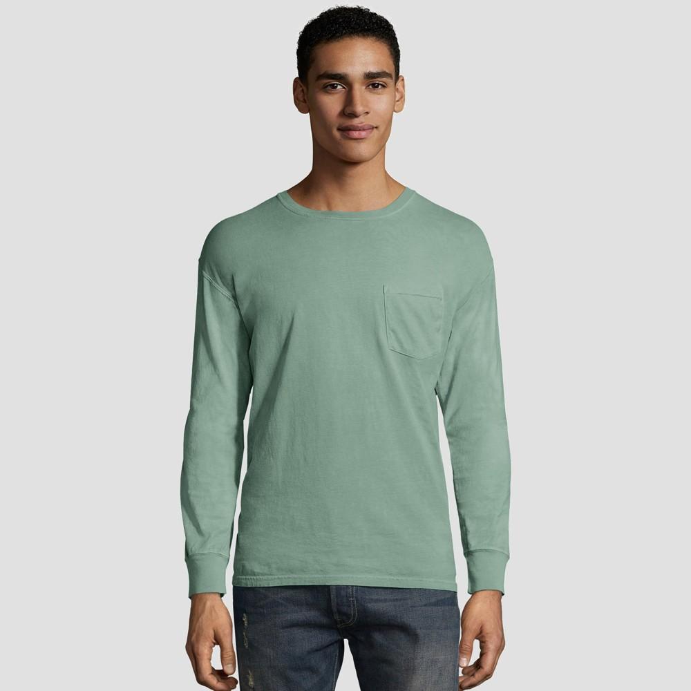 Hanes Men 39 S Long Sleeve 1901 Garment Dyed Pocket T Shirt Green Xl