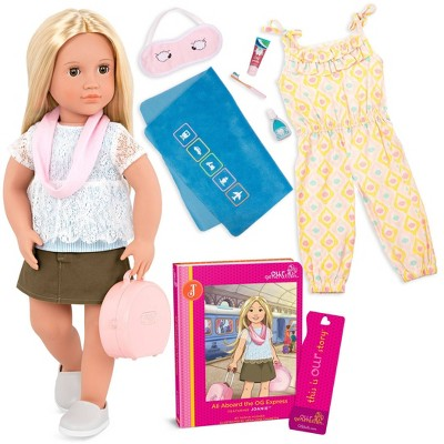 """Our Generation Joanie with Storybook & Accessories 18"""" Posable Travel Doll"""